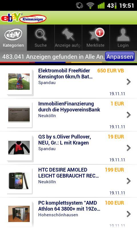 ebay kleinanzeigen schnell mal was verkaufen android apps im test androidpit. Black Bedroom Furniture Sets. Home Design Ideas