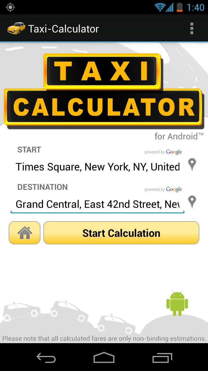 taxi calculator find the cheapest fare androidpit. Black Bedroom Furniture Sets. Home Design Ideas