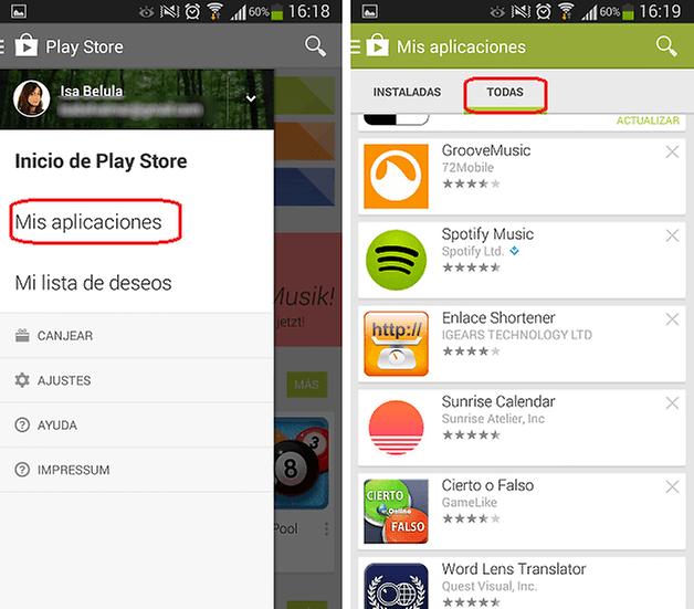 desinstalar aplicaciones google play 2