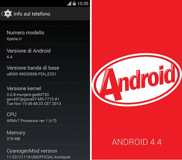 android 4 4 kitkat xperia u