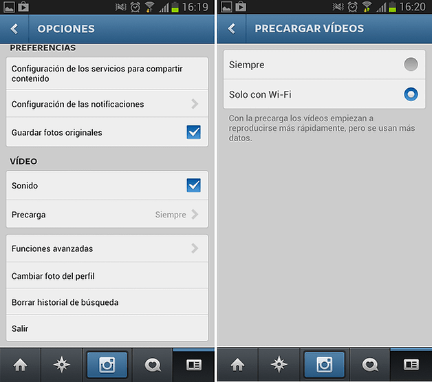 silenciar videos instagram