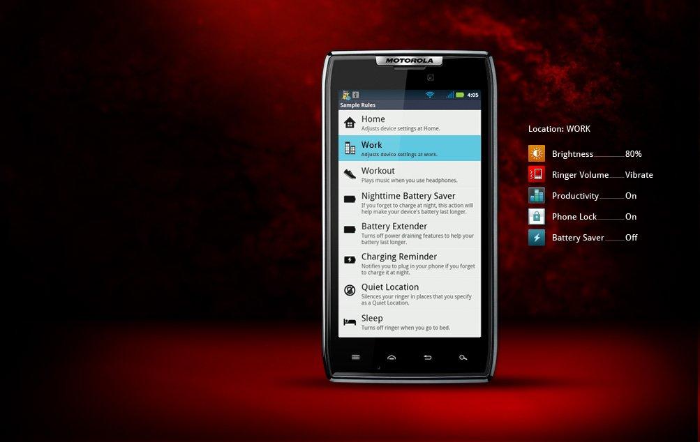 Acciones inteligentes Motorola Droid RAZR