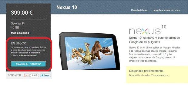 comprar nexus 10