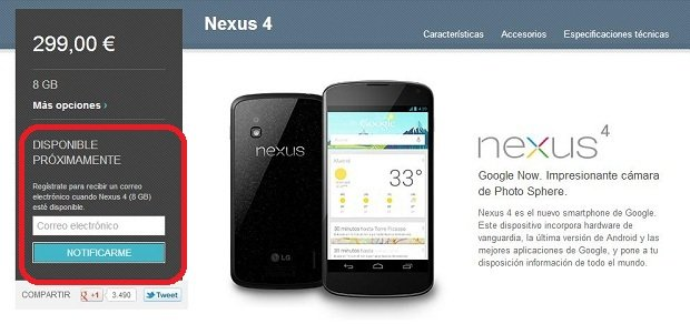 comprar nexus 4 google play store