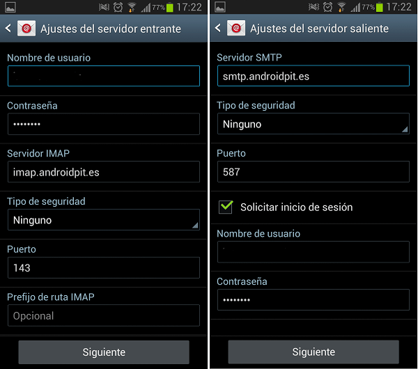 configurar correo en android 4