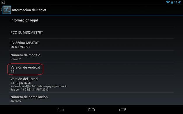 Android 4 3 nexus 7 2