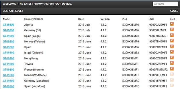 Camera stock Android Nexus 2 menu