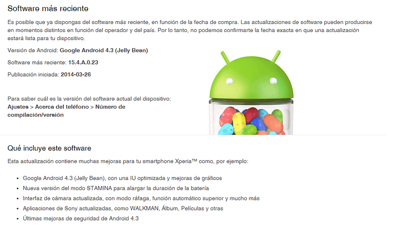 xperia m android 4 3