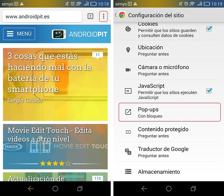 bloquear pop up chrome android