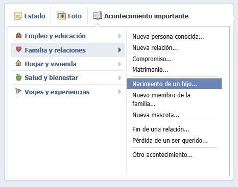 facebook nacimiento de un hijo