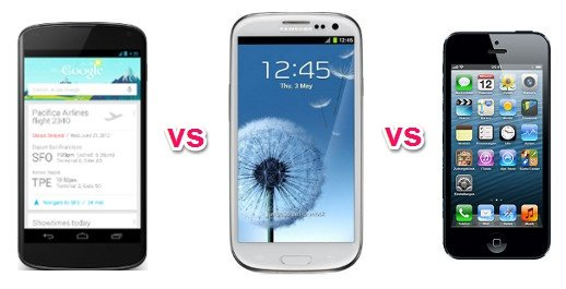 nexus 4 vs. samsung galaxy s3 vs. iphone 5