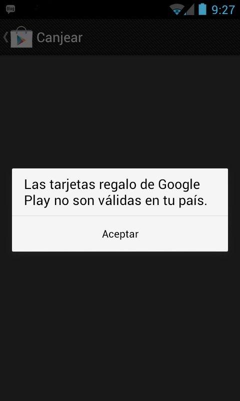 tarjetas regalo google play españa