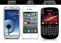 Samsung Galaxy S3 vs. iPhone 4S vs. BlackBerry Bold
