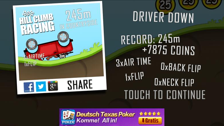 hill climb racing score
