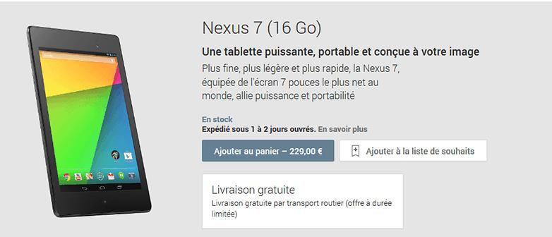 nexus7 2013 playstore fr