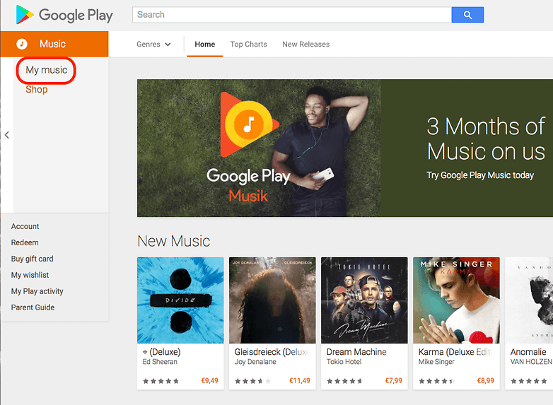 google play music browser version my music
