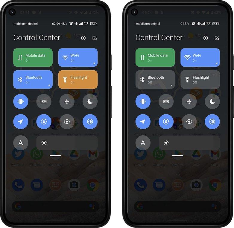 Android 12 mi Kontrollzentrum