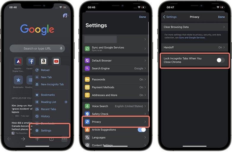 Chrome iOS incognito tab face ID 1 EN