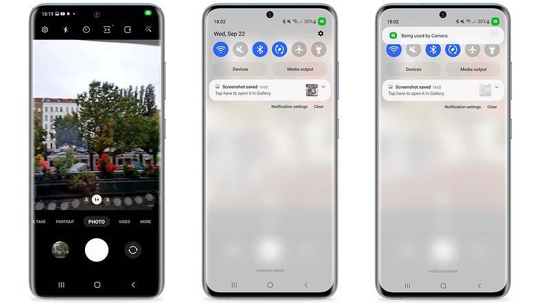 Samsung OneUI 40 camera alert