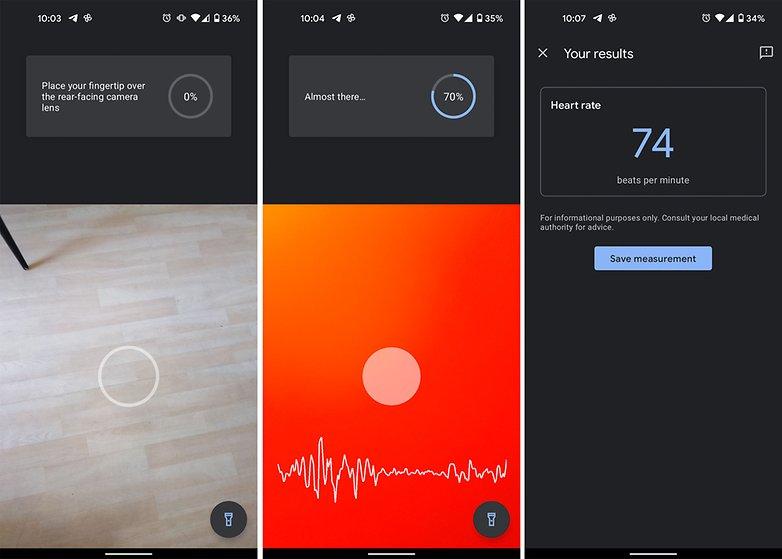 frecuencia cardíaca de píxeles de la aplicación google fit