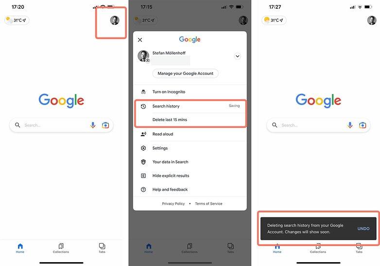 quick delete Google search history last 15 minutes iOS