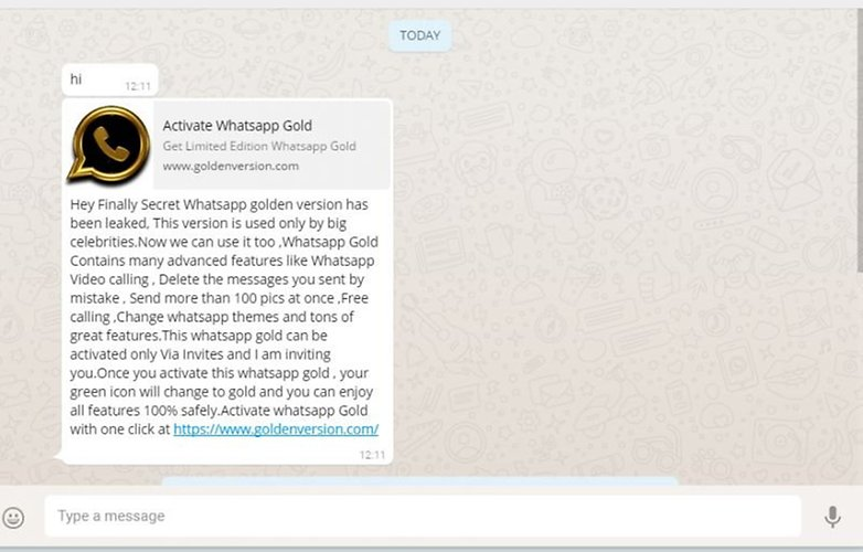 WhatsApp gold malware message