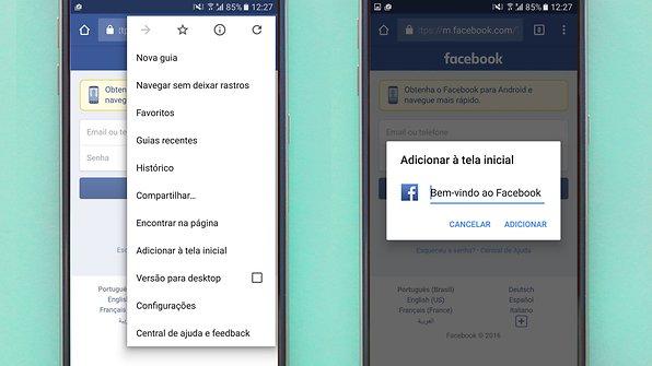 facebook atalho tela