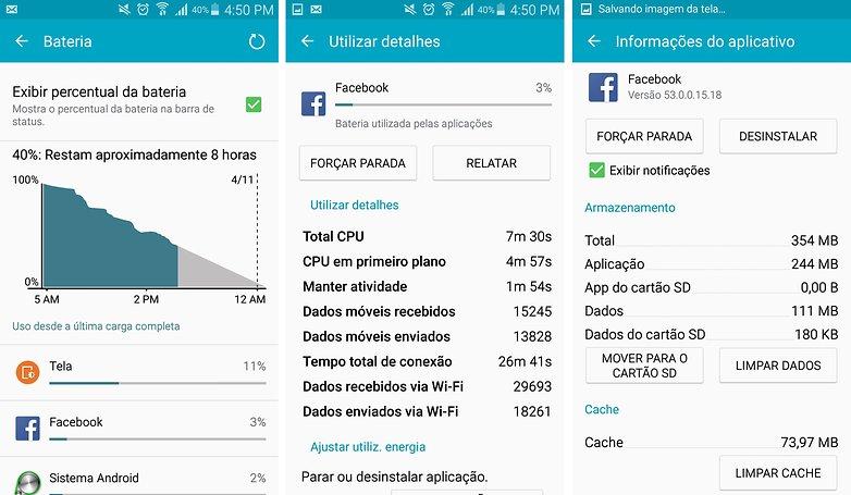 facebook consumo dados bateria