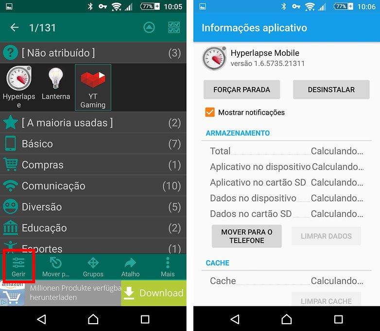 glextor informacoes app limpeza cache