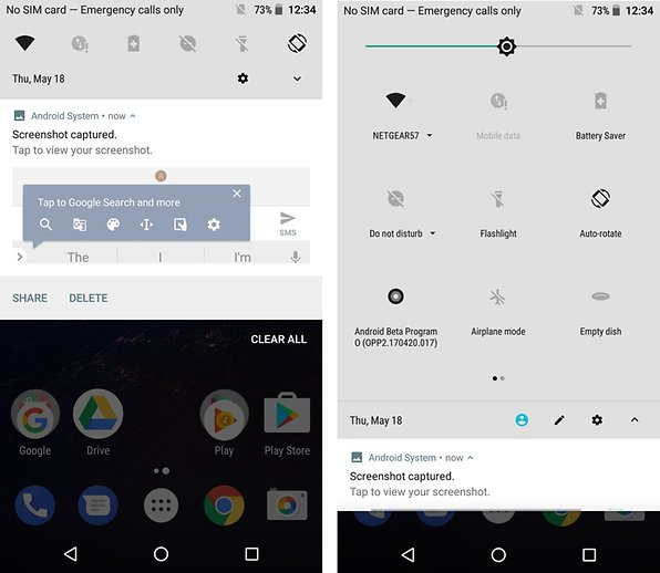 android o preview UI quick settings