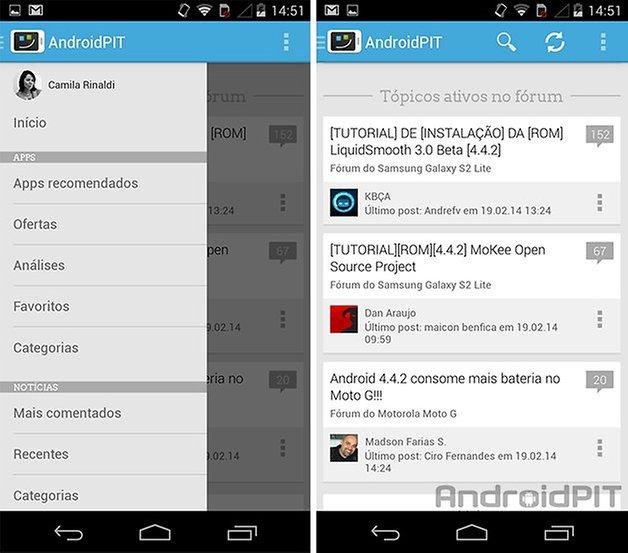 AndroidPIT app menu navegador