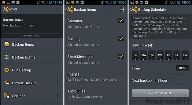 Avast app backup