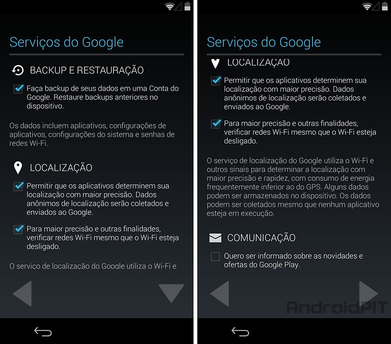 Nexus 5 configuracoes google backup