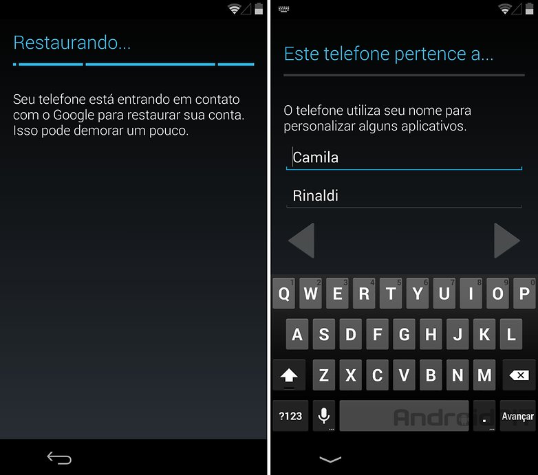 Nexus 5 configuracoes nome usuario