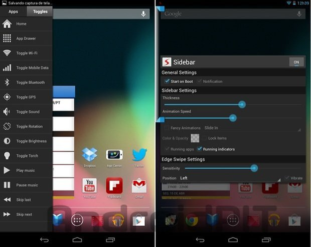Sidebar Android configuracoes