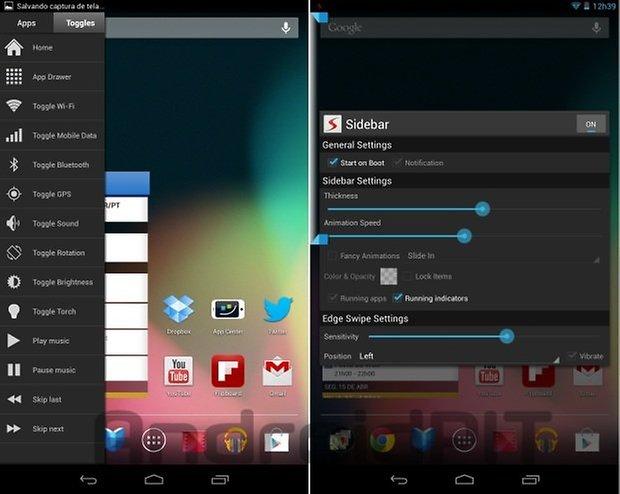 Sidebar Android configuracoes