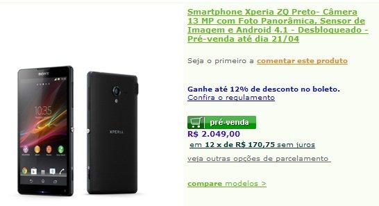 Sony Xperia ZQ preco pre venda