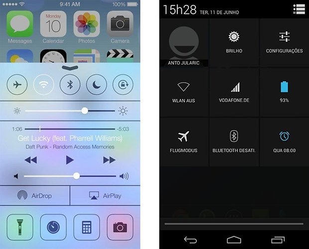 ios android control center quick settings