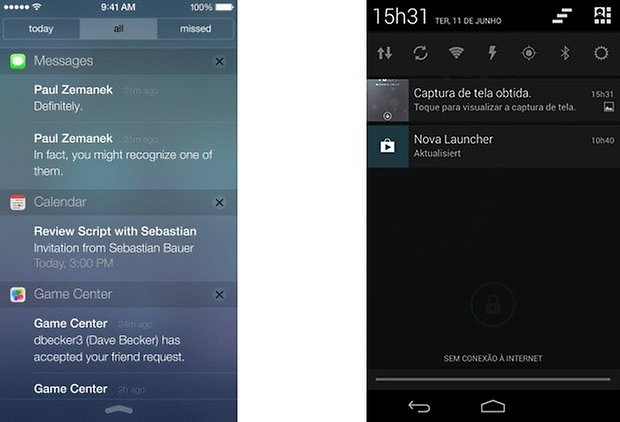 ios android barra notificacoes