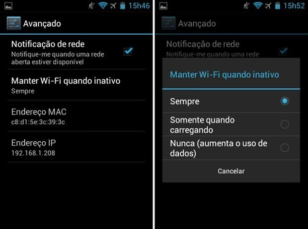 manter wi fi smartphone inativo