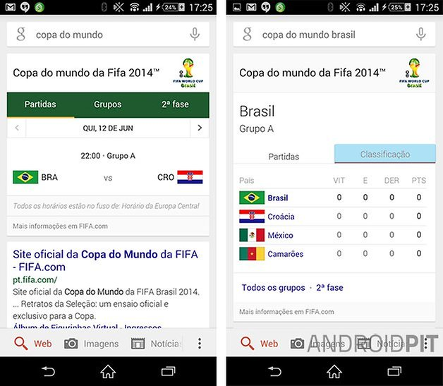 Google Now copa do mundo tempo real