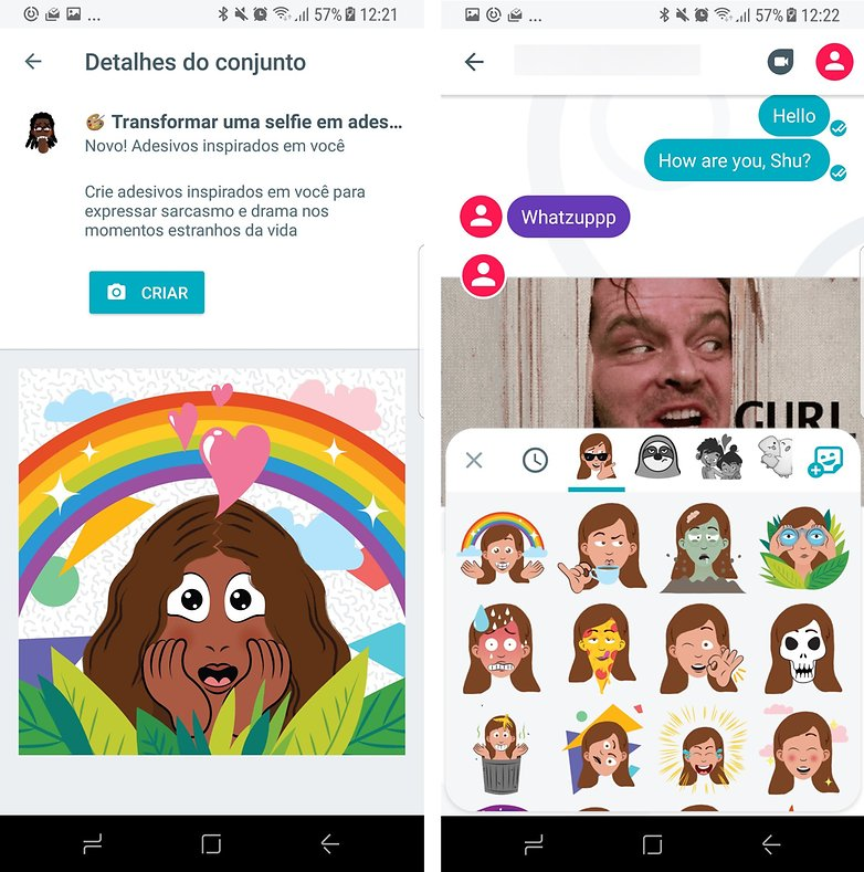 google duo allo selfies stickers