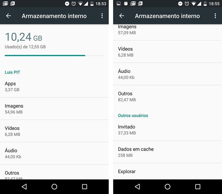 armazenamento memoria android m menu