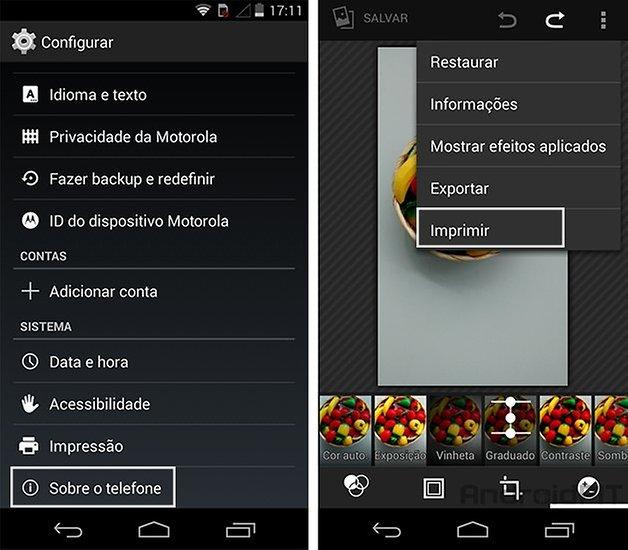 Moto G Android kitkat impressora