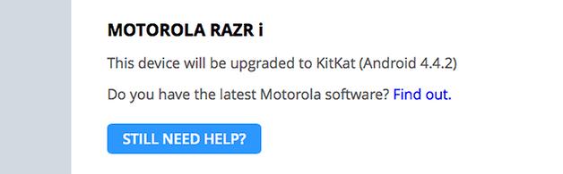 Motorola razr i atualizacao kitkat