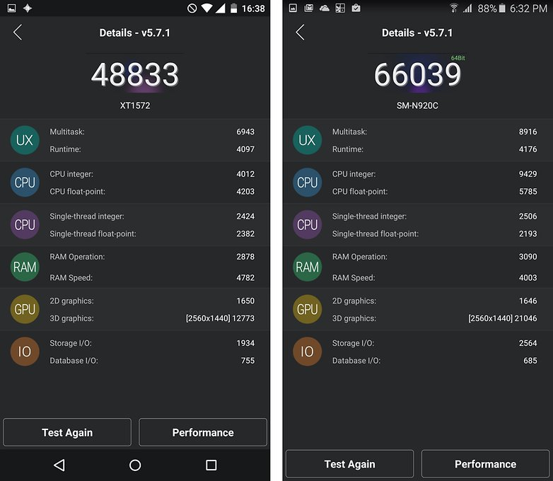 Moto X Style vs Note 5 benchmark