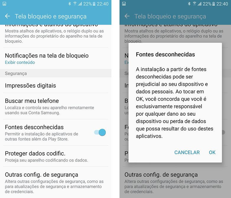 Galaxy s6 game launcher fontes desconhecidas