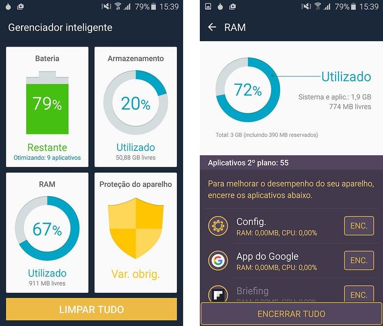 galaxy s6 ram gerenciamento app