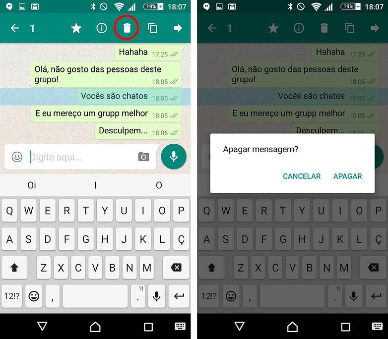 whatsapp remover mensagem