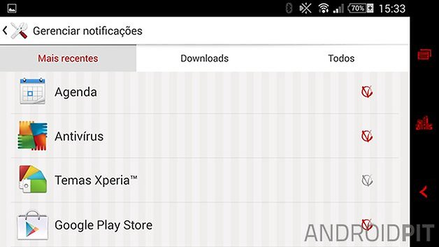 Xperia Z2 notificacoes